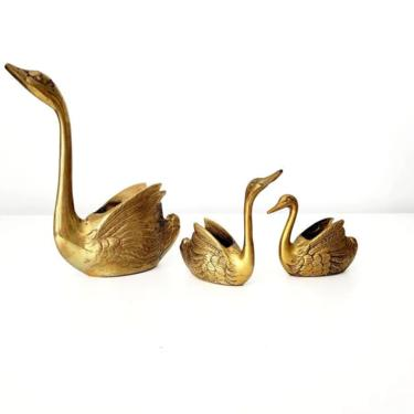Vintage Small Brass Swan Planter Set by pennyportland