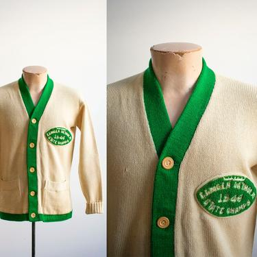 Vintage 1940s Varsity Sweater / Vintage Football Varsity Cardigan Sweater / Vintage Wool Cardigan / Vintage Collegiate Sweater / Letterman by milkandice