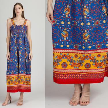 60s 70s Tiffany Loungewear Floral Maxi Sundress - Medium to Large | Vintage Boho Sleeveless Ruched Bodice Long Summer Dress by FlyingAppleVintage