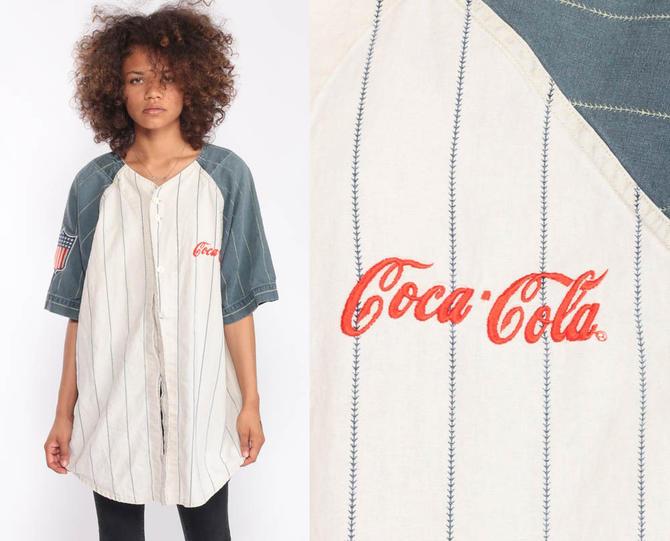 Baseball Jersey Shirt Coca Cola Shirt 90s Shirt Coke Shirt Button Up down  1990s Vintage Short Sleeve Large by ShopExile