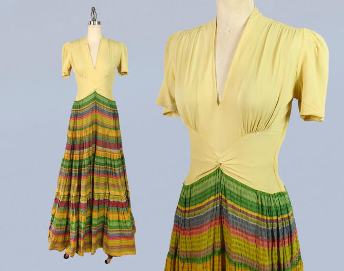 1940s Dress / 40s Gown Dress / Yellow Rayon Knit / Puffed Sleeves / Voluminous Southwest Striped Skirt by GuermantesVintage