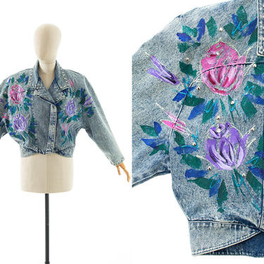 Vintage 1990s Jean Jacket   90s Hand Painted Roses Floral Blue Denim Acid Wash Studded Glitter Rhinestone Cropped Coat (large) by BirthdayLifeVintage