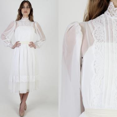 White Chiffon Wedding Maxi Dress / 1970s Formal Bridal Ceremony Gown / Solid Lace Long Poet Sleeve Womens Dress by americanarchive