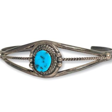 Vintage Sterling Silver & Turquoise NAVAJO Bracelet / Cuff ~ Old Pawn ~ Stamped / Hallmark / Artisan Signed by SparrowsAndWolves