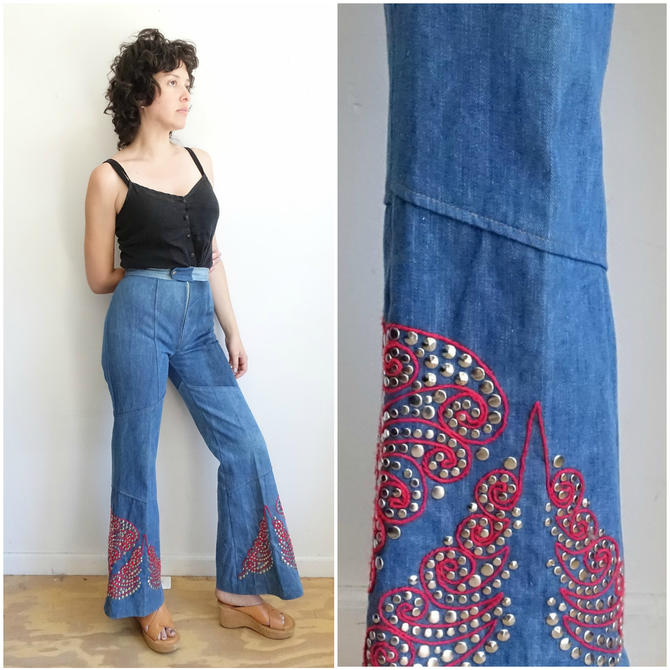 Vintage 70s STUDDED Bell Bottom Denim/ 1970s Embroidered Jeans with Studs/ Stagewear Rock n Roll/Size 28 by bottleofbread
