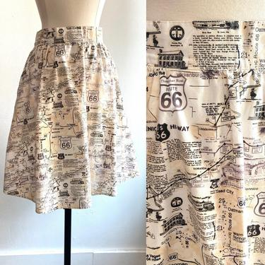 Fun Vintage 80's ROUTE 66 MAP Print Novelty Skirt / POCKETS / Retrolicious by CharmVintageBoutique