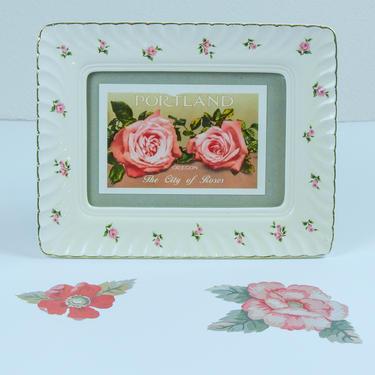 Rose Pattern Ceramic Picture Frame, Gold Rimmed by blackwellhabitat