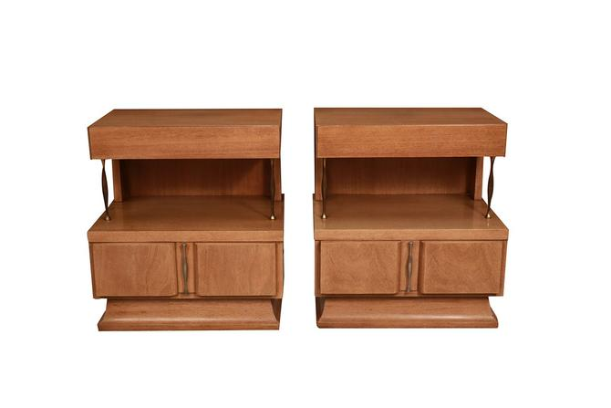 Pair Mid Century American of Martinsville Light Mahogany Two Tier Nightstands by Marykaysfurniture