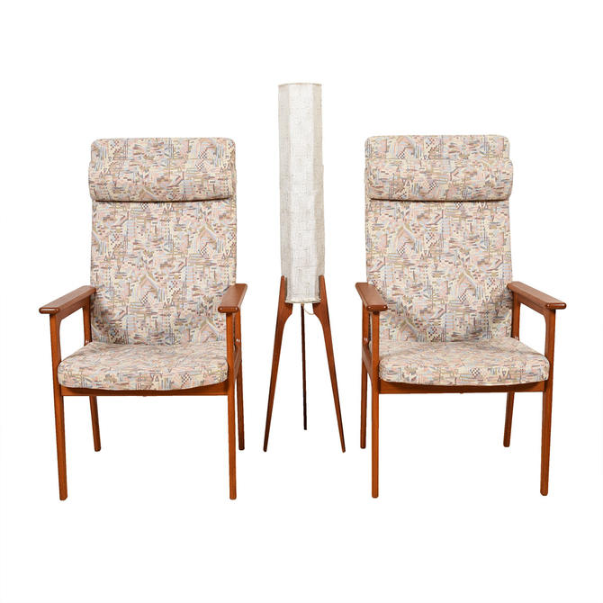 Pair Danish Modern Tallback Easy Chairs