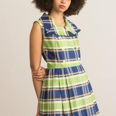 1960s Peck & Peck Plaid Cotton Jacquard Mini Dress by waywardcollection