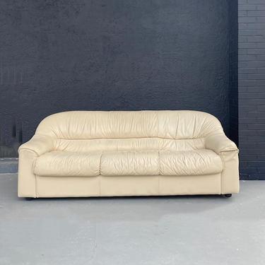 Italian 1980s Natuzzi Cream Leather Sofa