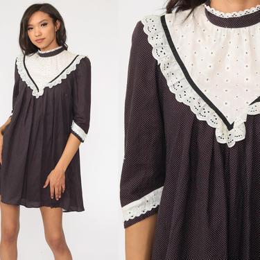 Black Tent Dress 70s White Lace Bib Dress Tent Polka Dot Puff Sleeve Dress Mini Summer Festival Hippie Bohemian Vintage Trapeze Boho Small by ShopExile