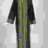 1960s Black Embroidered Caftan with Black & Tan Woven Raffia Trim