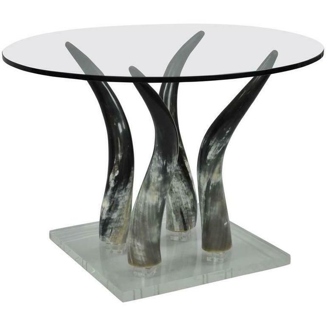 Mid Century Modern Chic Lucite and Horn Round Glass Occasional Side Table