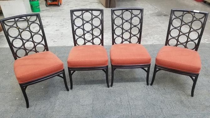 Vintage McGuire of San Francisco Laura Kirar Ebony Rattan Ring Back Dining Chairs