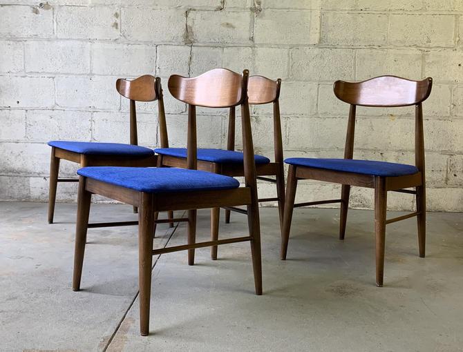 Mid Century MODERN WALNUT DINING Chairs, Set/4 by CIRCA60