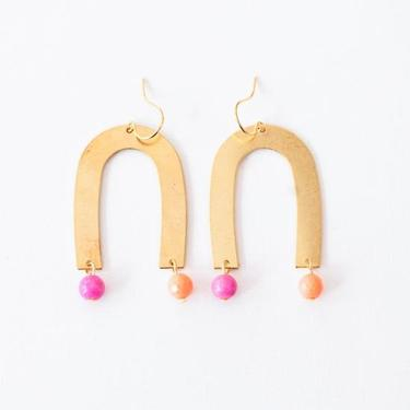 Arch earrings with Pink and Salmon beads