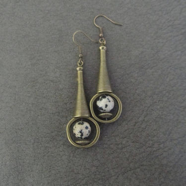 Jasper earrings, unique brass mid century modern earrings, industrial earrings, bohemian artisan earring, ornate chic contemporary earrings by Afrocasian