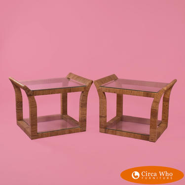 Wrapped Rattan End Tables