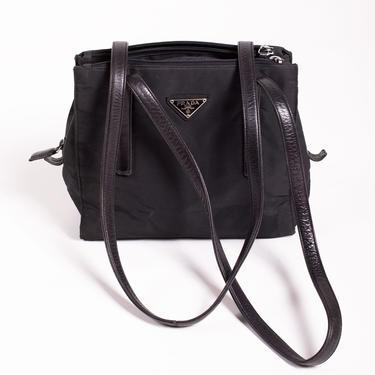 Vintage PRADA Black Nylon + Leather Tessuto Shopper Tote Multiple Pockets 90s Y2K Monogram Logo Shoulder Bag Minimal Nero Vela by backroomclothing