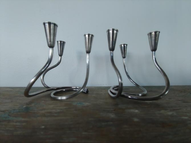 Pair of Silver Danish Modern Candle Holders Designed by Carl Christiansen by ModandOzzie