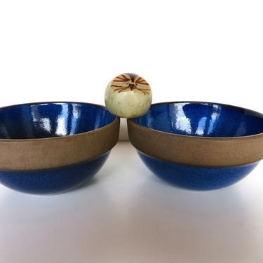 "Set Of 2 Vintage Heath Ceramics 5 1/2"" Cereal Bowls In Blue Moonstone, Edith Heath Ceramics, Blue Rim Line Stacking Cereal/Soup Bowls by HerVintageCrush"