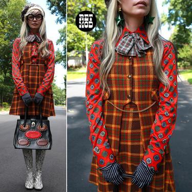 MOD LOVE Vintage 60s 70s Butterscotch Brown Green Plaid Mini Skirt & Vest Set by RETMOD