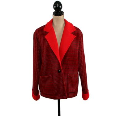 80s Oversize Wool Fleece Jacket Chore Barn Coat Red & Black Houndstooth Check 1980s Clothes Women Medium Large Vintage Clothing Willow Ridge by MagpieandOtis