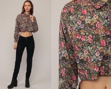 dd6b98e9 Crop Top 90s Button Up Shirt FLORAL Blouse 80s Grunge Cropped Print Long  Sleeve Top 1990s