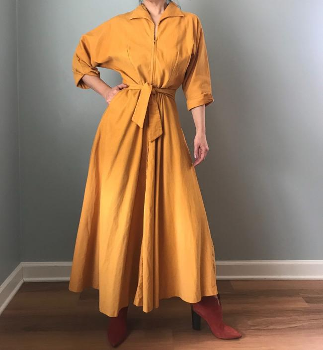 RESERVED - rare vintage 50s FREDERICK'S of HOLLYWOOD dress | gold corduroy belted swing skirt maxi by LosGitanosVintage