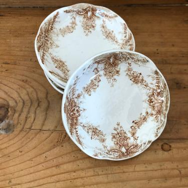 Brown and White Antique Transferware Butter Pats by AnticaMarket