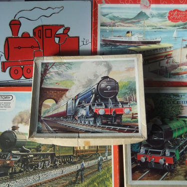 Steam Engine Wooden Jigsaw Puzzles, Made in England, Trains, Set of 5, Original Boxes by JansVintageStuff