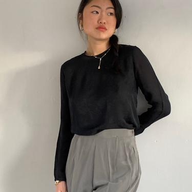 90s silk crepe crewneck blouse / vintage black on black silk floral damask semi sheer delicate back button blouse | S by RecapVintageStudio