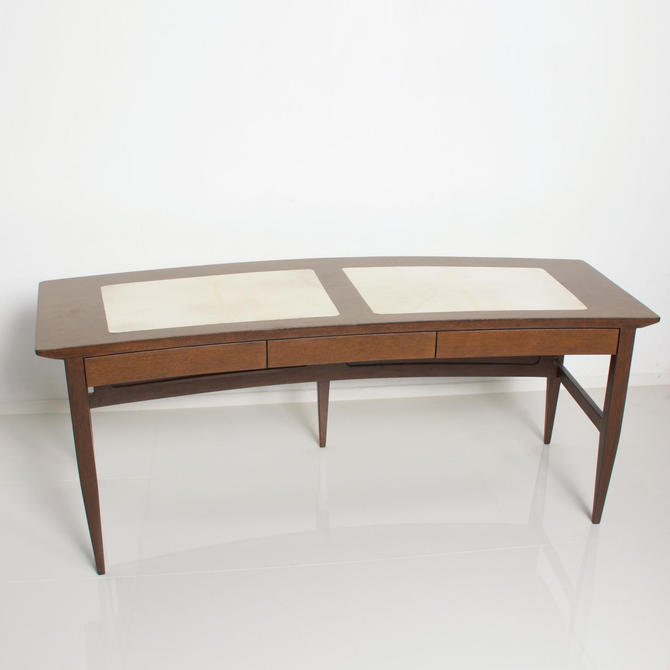 Mid Century Mexican Modernist Curved Desk With Goatskin by AMBIANIC