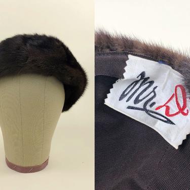 Vintage 1950s Mr. D Mink Fur Hat, 50s Mod Hat, Vintage Mr. D Designer, 60s Winter Ski Hat, Sz OSFM by MobyDickVintage