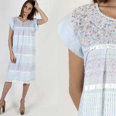 Baby Blue Cotton Crochet Mexican Dress / Vintage Pastel Floral Paneled Embroidery / Woven Lace Shift Clothing Midi Dress by americanarchive