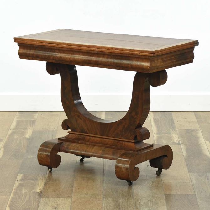 Antique Empire Style Flip Top Burled Console Table