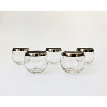 Mid Century Silver Rimmed Roly Poly Whiskey Glasses / Set of 5 by SergeantSailor