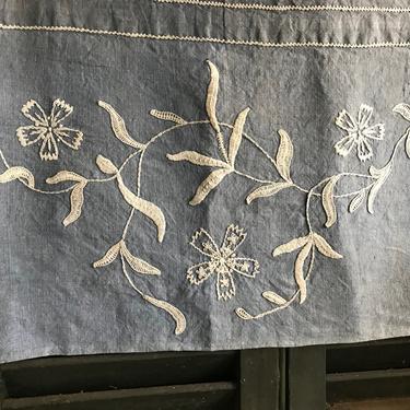 French Indigo Linen Pillow Sham, Case, Cigar Pillow, Floral Embroidery, Envelope Case, Wedding Trousseau Case by JansVintageStuff