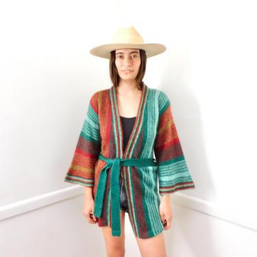 Joshua Tree Wool Cardigan Sweater // vintage 70s knit hippie dress blouse hippy 1970s tunic space dye // S/M by FenixVintage