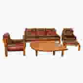 Rare Pierre Chapo Solid Elm & Leather Living Room Set