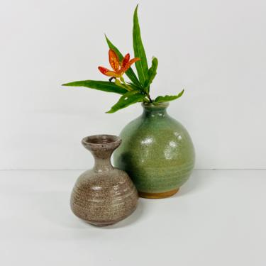 Vintage Pottery Lot/ Don Salisbury Signed Vase/ NW Studio Pottery/ And Unsigned Vase/ Green/ Brown/ FREE SHIPPING by RamblinFeverVintage1