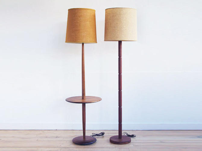 Walnut & Teak Pole Lamps