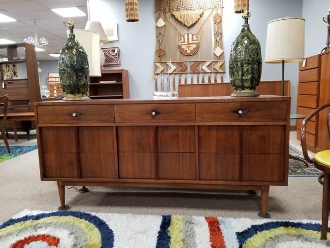 Mid-Century Modern walnut dresser with burlwood accents