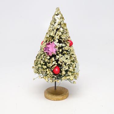 Small Antique Glittered Bottle Brush Christmas Tree in Gold Wooden Base, Vintage Decor Glitter Flocked , Retro Doll House by exploremag