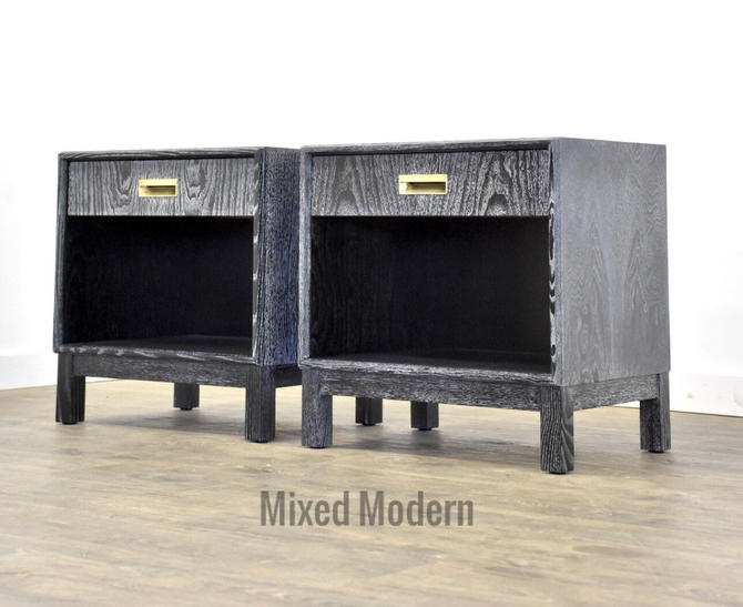 Black Cerused Mid Century Modern Nightstands - A Pair by mixedmodern1
