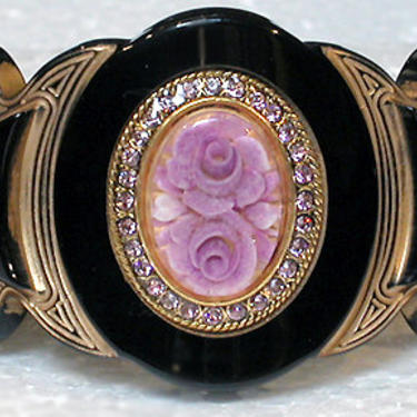 """French Bracelet Lucite Cuff """"Belle Epoque Style"""" Solid Black with Violet Rose Center by CafeSocietyStore"""