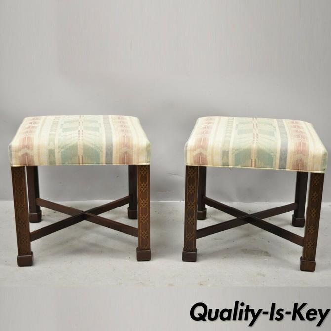 Ethan Allen Chinese Chippendale Style Mahogany Fretwork Square Stools - a Pair