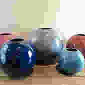 Haeger Ceramic Ball Vase 4306, Round Sphere Orb, Vintage 80s Mod Decor, Multi Colors & Sizes, Grey, Navy Blue, Light Blue, Mauve, Pink by ArchiveHomeVintage
