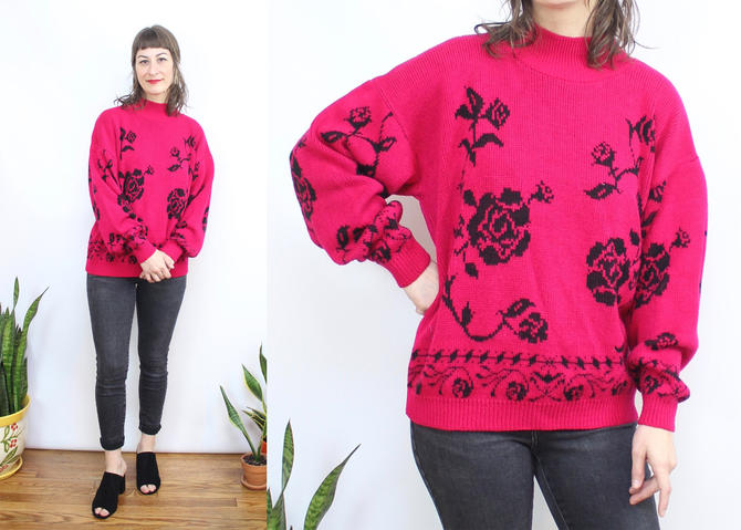 Vintage 80's Hot Pink Rose Mockneck Sweater / 1980's Roses Acrylic Knit Sweater / Women's Size Small Medium by RubyThreadsVintage